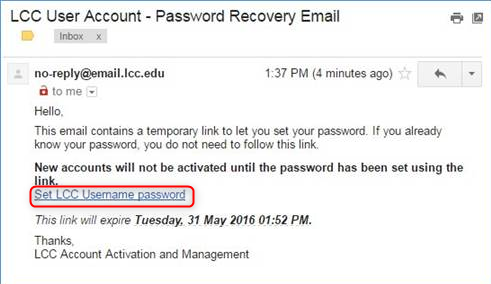 Example of the password recovery email, select set LCC username password
