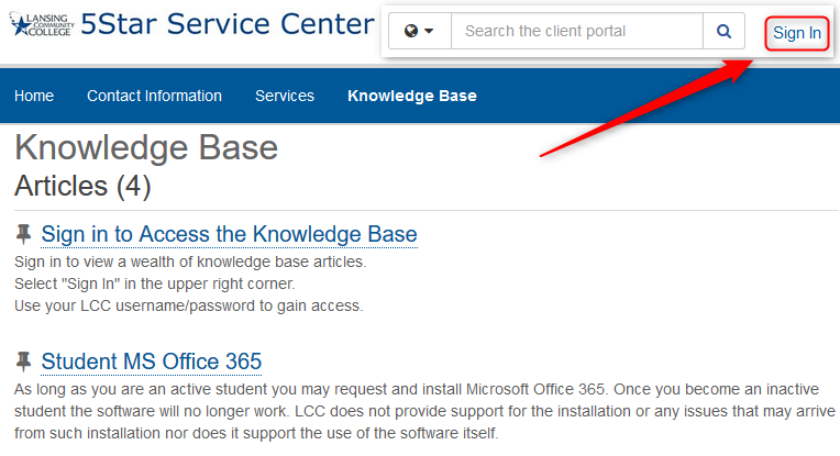 Sign in to access the Knowledge Base. Use the Sign In button on the upper right side.