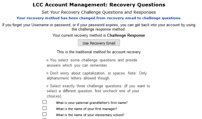 Using challenge questions for recovery setup