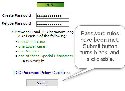 Good password strength and all rules followed makes the submit button turn black, and is clickable now.