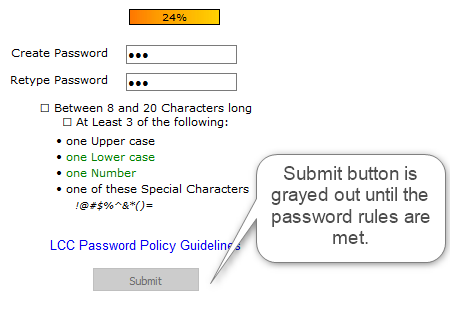 Password strength meter. Submit remains grayed out until the password rules are met.