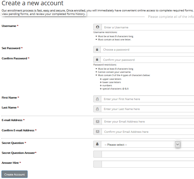 Screenshot showing all boxes which are mandatory on the page to create a new account